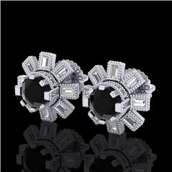 1.77 CTW Fancy Black Diamond Solitaire Art Deco Stud Earrings 18K White Gold - REF-118H2M - 37863