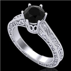 1 CTW Fancy Black Diamond Solitaire Engagement Art Deco Ring 18K White Gold - REF-105M5F - 37569