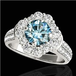 2.16 CTW SI Certified Fancy Blue Diamond Solitaire Halo Ring 10K White Gold - REF-221H8M - 33954