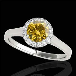 1.11 CTW Certified SI/I Fancy Intense Yellow Diamond Solitaire Halo Ring 10K White Gold - REF-167A3V