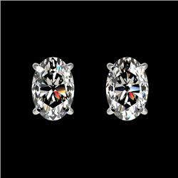 1 CTW Certified VS/SI Quality Oval Diamond Solitaire Stud Earrings 10K White Gold - REF-147X2R - 330
