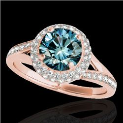 1.85 CTW SI Certified Fancy Blue Diamond Solitaire Halo Ring 10K Rose Gold - REF-218X2R - 34129