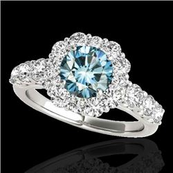 2.25 CTW SI Certified Fancy Blue Diamond Solitaire Halo Ring 10K White Gold - REF-207M6F - 33387