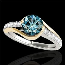 1.25 CTW SI Certified Blue Diamond Solitaire Ring 10K White & Yellow Gold - REF-156M2F - 35553