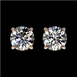 1 CTW Certified H-SI/I Quality Diamond Solitaire Stud Earrings 10K Rose Gold - REF-94F5N - 33050