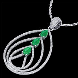 2 CTW Emerald & Micro Pave VS/SI Diamond Designer Necklace 18K White Gold - REF-133N3A - 22467
