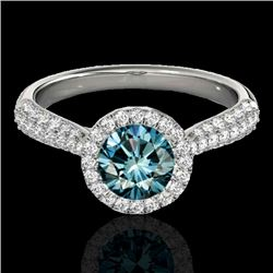 1.40 CTW SI Certified Fancy Blue Diamond Solitaire Halo Ring 10K White Gold - REF-170H4M - 33303