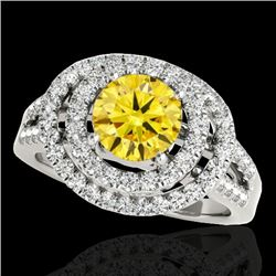 1.75 CTW Certified SI/I Fancy Intense Yellow Diamond Solitaire Halo Ring 10K White Gold - REF-200V2Y
