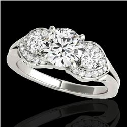 1.45 CTW H-SI/I Certified Diamond 3 Stone Ring 10K White Gold - REF-180X2R - 35331
