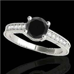1.20 CTW Certified VS Black Diamond Solitaire Antique Ring 10K White Gold - REF-53W6H - 34750