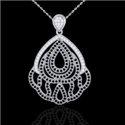 1.50 CTW Micro Black & VS/SI Diamond Necklace Designer 18K White Gold - REF-168N5A - 21279