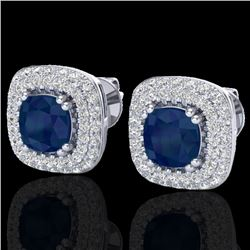 2.16 CTW Sapphire & Micro VS/SI Diamond Earrings Double Halo 18K White Gold - REF-105K6W - 20348