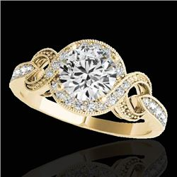 1.33 CTW H-SI/I Certified Diamond Solitaire Halo Ring 10K Yellow Gold - REF-159M6F - 33807