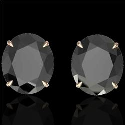 18 CTW Black VS/SI Diamond Certified Designer Stud Earrings 14K Rose Gold - REF-381W8H - 21694