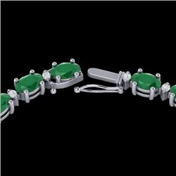 35 CTW Emerald & VS/SI Diamond Certified Eternity Tennis Necklace 10K White Gold - REF-200Y7X - 2159