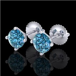 1.50 CTW Fancy Intense Blue Diamond Art Deco Stud Earrings 18K White Gold - REF-141K8W - 38237