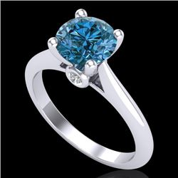 1.60 CTW Intense Blue Diamond Solitaire Engagement Art Deco Ring 18K White Gold - REF-289N3A - 38216