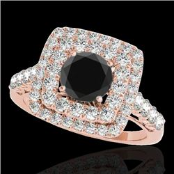 2.05 CTW Certified VS Black Diamond Solitaire Halo Ring 10K Rose Gold - REF-114N2A - 34589