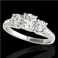 3.25 CTW H-SI/I Certified Diamond 3 Stone Ring 10K White Gold - REF-476M4F - 35448