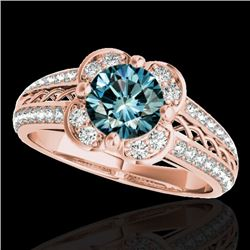 1.50 CTW SI Certified Fancy Blue Diamond Solitaire Halo Ring 10K Rose Gold - REF-180N2A - 34262