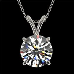 1.55 CTW Certified H-SI/I Quality Diamond Solitaire Necklace 10K White Gold - REF-322K5W - 36796