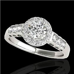 1.55 CTW H-SI/I Certified Diamond Solitaire Halo Ring 10K White Gold - REF-180F2N - 34360