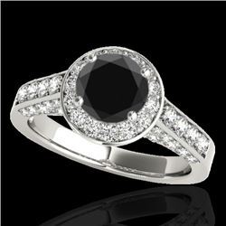 1.80 CTW Certified VS Black Diamond Solitaire Halo Ring 10K White Gold - REF-97W3H - 34045
