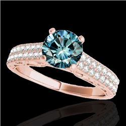 1.91 CTW SI Certified Blue Diamond Solitaire Antique Ring 10K Rose Gold - REF-247W3H - 34708