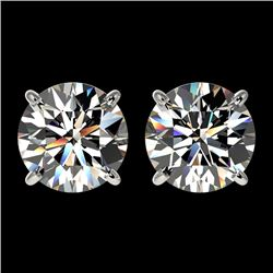 2.57 CTW Certified H-SI/I Quality Diamond Solitaire Stud Earrings 10K White Gold - REF-435A2V - 3667