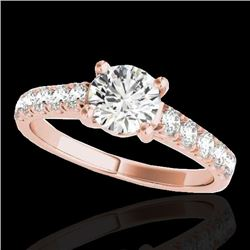 1.55 CTW H-SI/I Certified Diamond Solitaire Ring 10K Rose Gold - REF-207V3Y - 35490