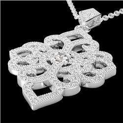 1.40 CTW Micro Pave VS/SI Diamond Certified Designer Necklace 14K White Gold - REF-130M9F - 22555