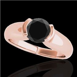 1 CTW Certified VS Black Diamond Solitaire Ring 10K Rose Gold - REF-61X8R - 35177