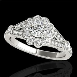 1.90 CTW H-SI/I Certified Diamond Solitaire Halo Ring 10K White Gold - REF-227F3N - 34038