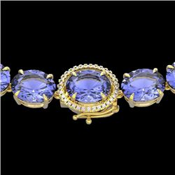 170 CTW Tanzanite & VS/SI Diamond Halo Micro Eternity Necklace 14K Yellow Gold - REF-3163V6Y - 22318