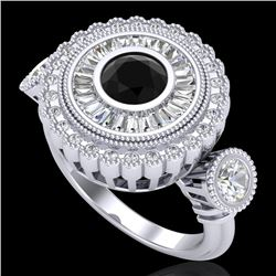 2.62 CTW Fancy Black Diamond Solitaire Art Deco 3 Stone Ring 18K White Gold - REF-254F5N - 37919