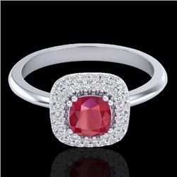 1.16 CTW Ruby & Micro Pave VS/SI Diamond Ring Double Halo 18K White Gold - REF-70V9Y - 21033