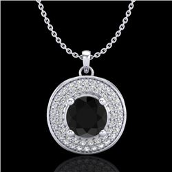 1.25 CTW Fancy Black Diamond Solitaire Art Deco Stud Necklace 18K White Gold - REF-83V6Y - 38136