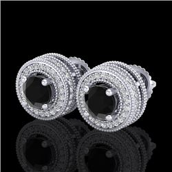 2.09 CTW Fancy Black Diamond Solitaire Art Deco Stud Earrings 18K White Gold - REF-154R5K - 38010