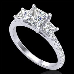 2.14 CTW Princess VS/SI Diamond Art Deco 3 Stone Ring 18K White Gold - REF-454W5H - 37205