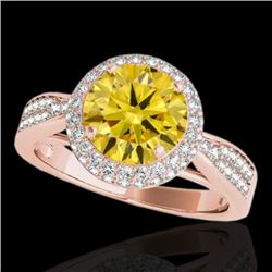 1.65 CTW Certified SI/I Fancy Intense Yellow Diamond Solitaire Halo Ring 10K Rose Gold - REF-180X2R