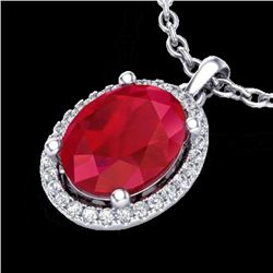 3 CTW Ruby & Micro Pave VS/SI Diamond Certified Necklace Halo 18K White Gold - REF-59W3H - 21087