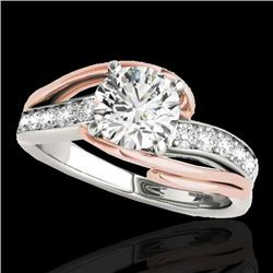 1.25 CTW H-SI/I Certified Diamond Bypass Solitaire Ring 10K White & Rose Gold - REF-176N4A - 35121