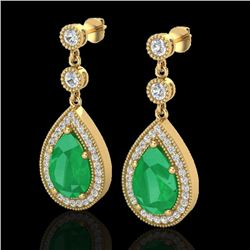 6 CTW Emerald & Micro Pave VS/SI Diamond Earrings Designer 18K Yellow Gold - REF-93Y8X - 23116