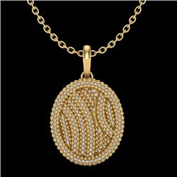 1 CTW Micro Pave VS/SI Diamond Certified Necklace 14K Yellow Gold - REF-90M9F - 20510