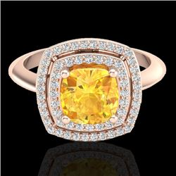1.77 CTW Citrine & Micro VS/SI Diamond Certified Pave Halo Ring 14K Rose Gold - REF-54Y5X - 20756