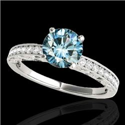 1.43 CTW SI Certified Blue Diamond Solitaire Antique Ring 10K White Gold - REF-180A2V - 34617