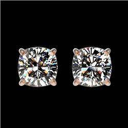 1 CTW Certified VS/SI Quality Cushion Cut Diamond Stud Earrings 10K Rose Gold - REF-147M2F - 33067