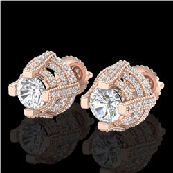 2.75 CTW VS/SI Diamond Solitaire Micro Pave Stud Earrings 18K Rose Gold - REF-320F2N - 36951