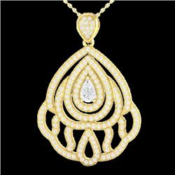 2 CTW Micro Pave VS/SI Diamond Certified Designer Necklace 18K Yellow Gold - REF-276W2H - 21265