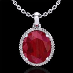 12 CTW Ruby & Micro Pave VS/SI Diamond Certified Halo Necklace 18K White Gold - REF-104M5F - 20614